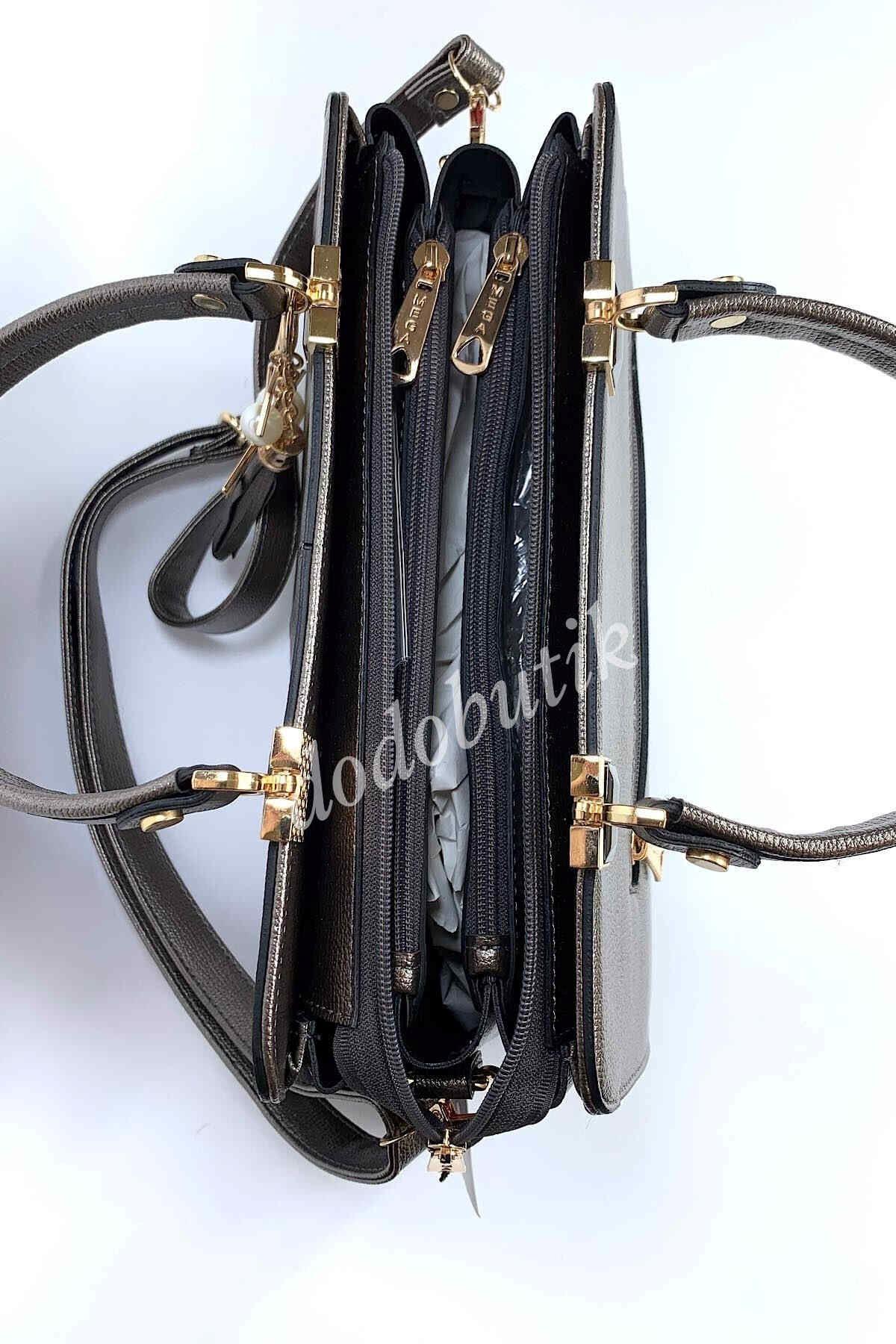 Metalik Gri Klasik Kol Çantası M-903