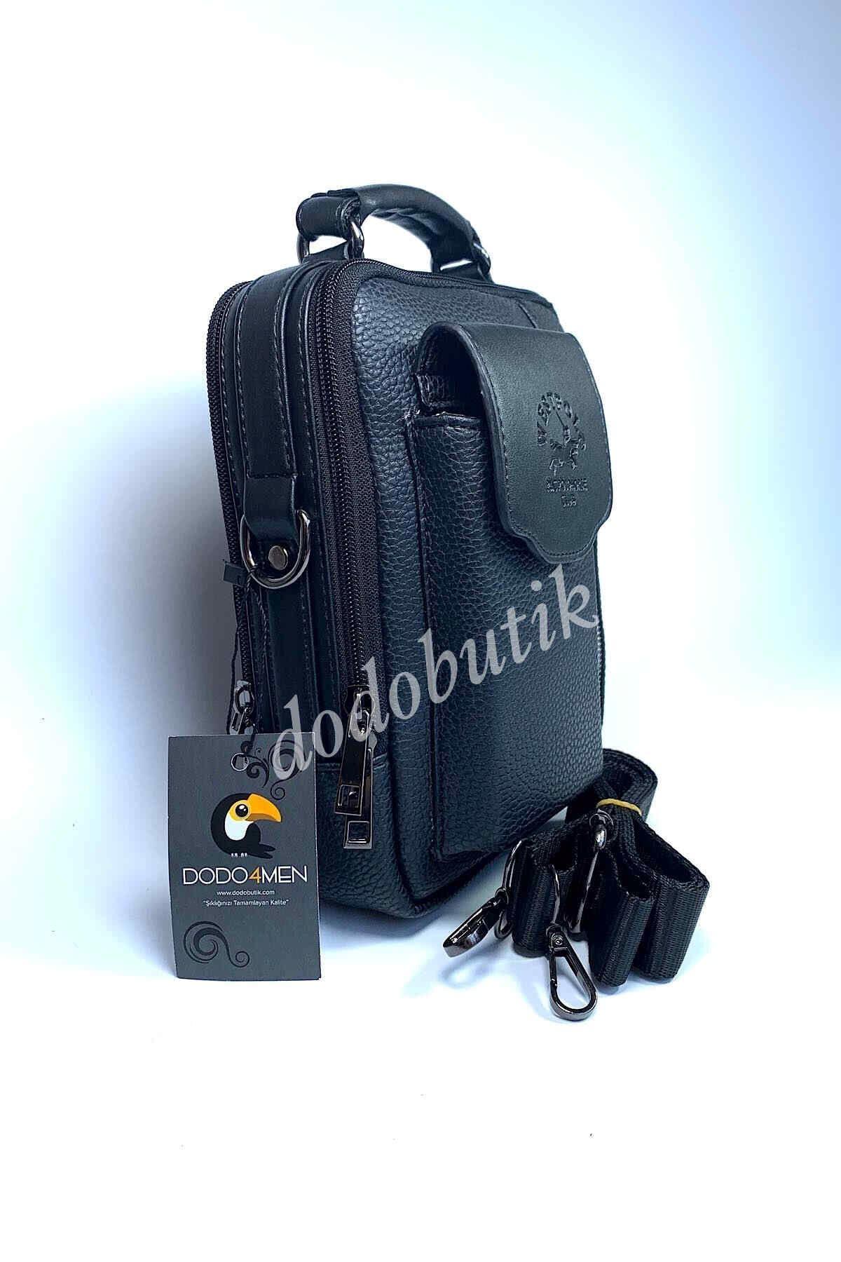 Siyah Telefon Gözlü Çelik Kasa Postacı Çantası 6006
